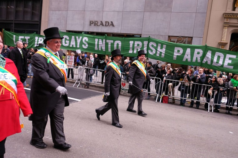 Marchers pass a group of protesters during the St Patrick's Day parade in New York on March 17, 2015. The group was protesting the exclusion of Gay groups from the parade. (Jewel Samad/AFP/Getty Images)