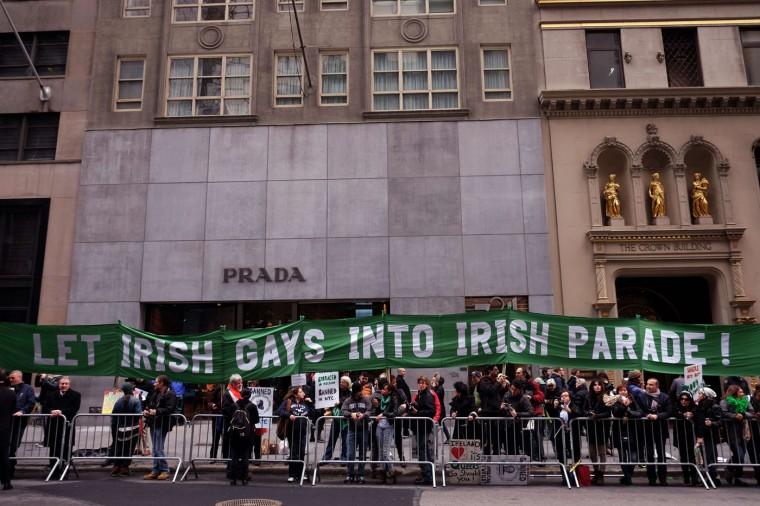 Protesters shout slogans during the St Patrick's Day parade in New York on March 17, 2015. The group was protesting the exclusion of Gay groups from the parade. (Jewel Samad/AFP/Getty Images)