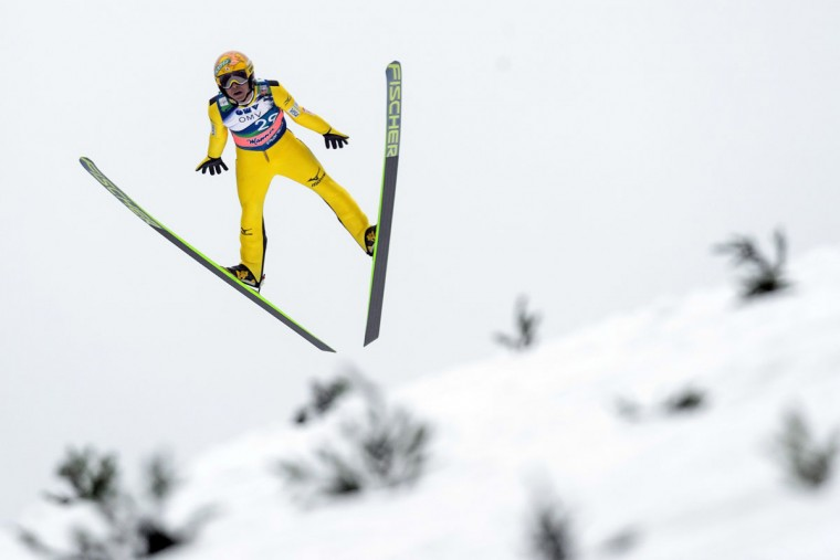 Noriaki Kasai of Japan competes in the FIS Ski Flying World Cup Individual Event in Planica, Slovenia, on March 22, 2015. (AFP Photo/Jure Makovec)