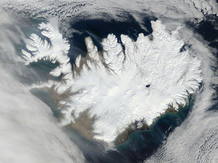 This March 20, 2015, NASA satellite image shows Iceland. (AFP PHOTO HANDOUT-NASA)