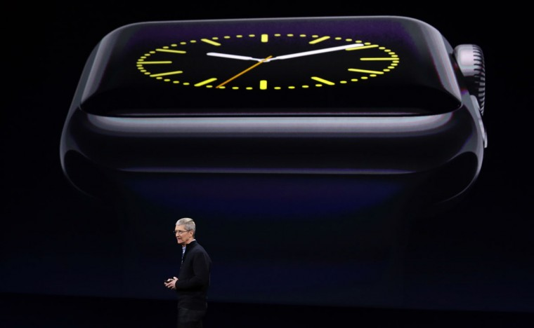 Apple CEO Tim Cook talks about the new Apple Watch during an Apple event on Monday, March 9, 2015, in San Francisco. (AP Photo/Eric Risberg)