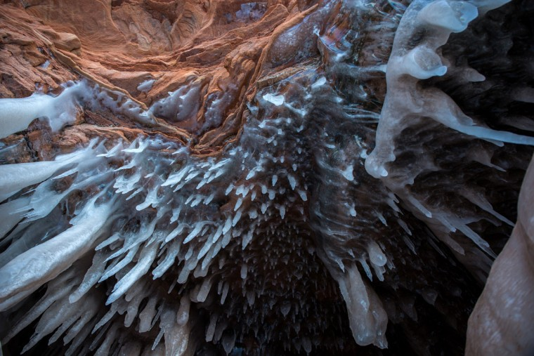 An ice cave is seen at the Apostle Islands National Lakeshore on Lake Superior, Friday, Feb. 27, 2015, near Bayfield, Wis. The caves are scheduled to open to the public on Saturday. (Zbigniew Bzdak/Chicago Tribune)
