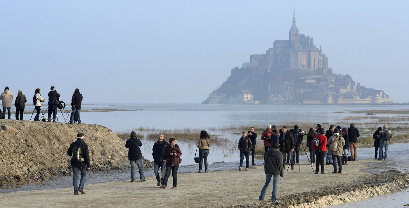 Rare, dazzling supertide envelops France's Mont Saint-Michel