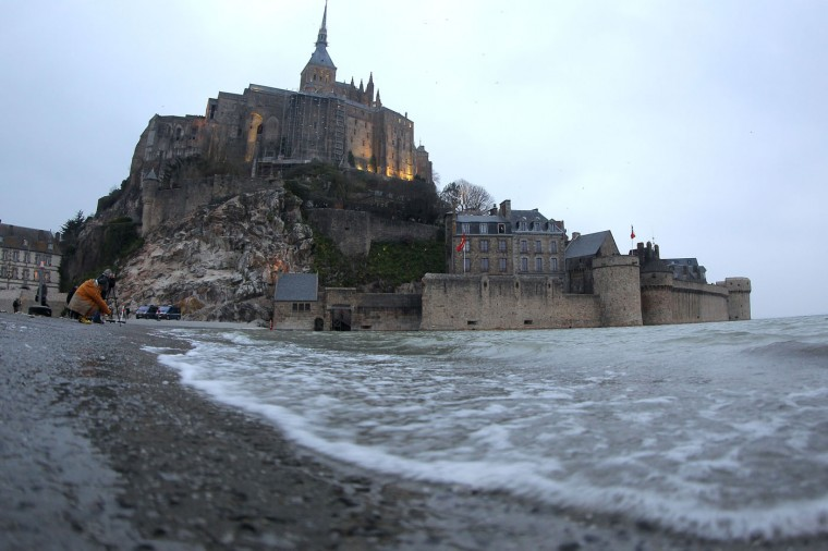 The abbey Mont Saint Michel is pictured early on Friday, March 20, 2015, in western France. (David Vincent/Associated Press)