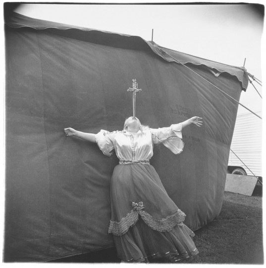 A sword swallower is shown at a Maryland carnival in 1970. (AP Photo/Metropolitan Museum of Art, Diane Arbus)