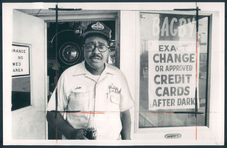 July 19, 1971 - John Bagby, a service station owner, shares frustrations of rising crime in Howard Park.