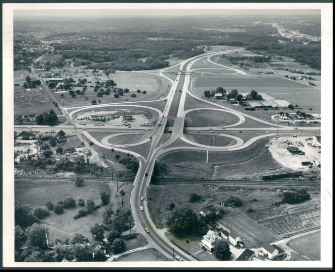 From its eastern terminus at Pulaski highway near Golden Ring, the Baltimore beltway winds northeast to Fullerton and Towson, on the horizon. Route may later be extended southward to Sollers Point to meet second harbor tunnel. (Richard Stacks/Baltimore Sun, 1962)