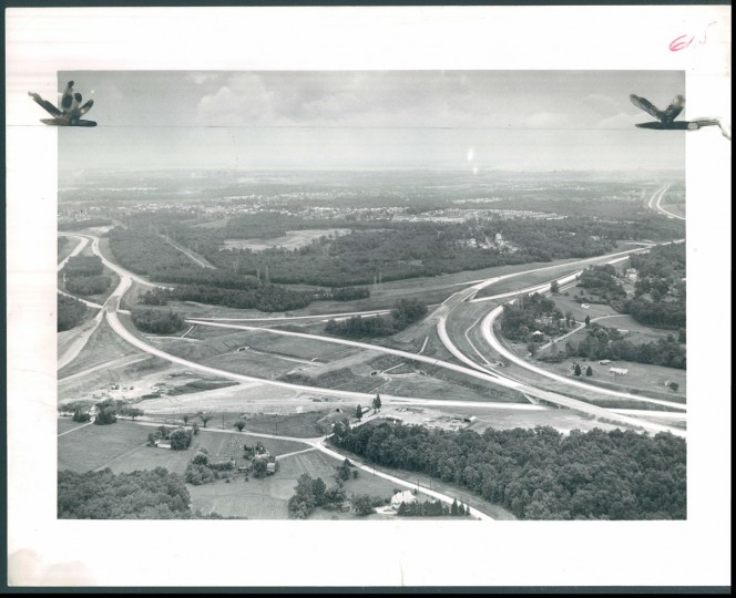 Nearly ready - This section of the Baltimore beltway is scheduled to be opened for traffic by the end of the month. It is near Kenwood avenue, in the Overlea neighborhood, northeast of the city. (Ralph Robinson/Baltimore Sun, 1961)