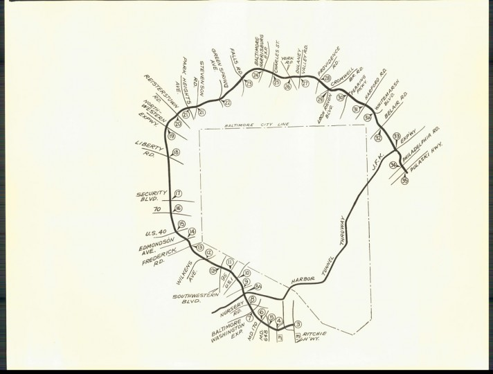A map of the prospective exits on the beltway. (Baltimore Sun archives)