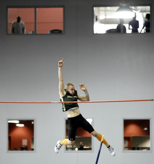 "Century's Nick Neral clears 14' 6"" to win the 2A Boys Pole Vault during the MPSSAA State Championship Indoor Track Meet in Landover. (Dylan Slagle/BSMG)"