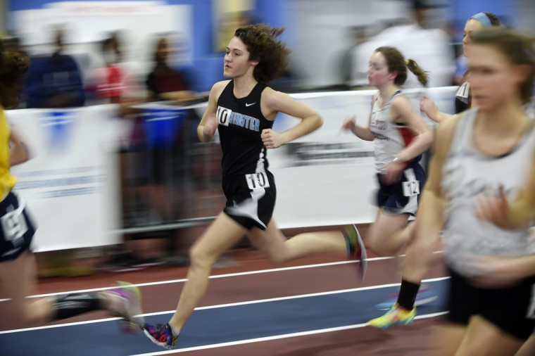 Westminster's Colleen Kernan competes in the 3A girls 1600 meter run during the MPSSAA State Indoor Track and Field Championships in Landover.  (Dylan Slagle/BSMG)