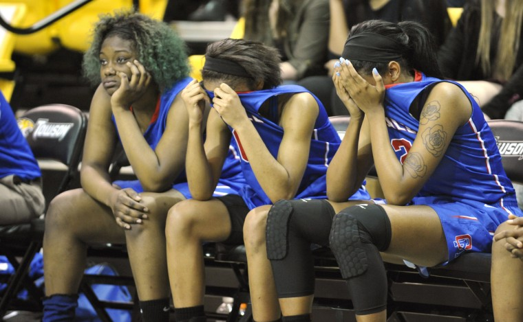 Old Mill's team begins to show emotion as their championship slips away during Thursday evening's MPSSAA Girl's Basketball State Championships against Paint Branch High School held at the SECU Arena at Towson University. (Matthew Cole/BSMG