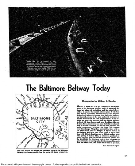 An article about the progress of the Baltimore Beltway construction on November 12, 1961. (Baltimore Sun archives)