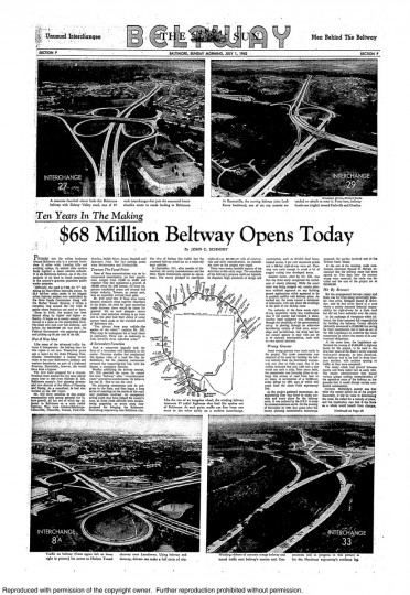 The Sunday Sun the day the Baltimore Beltway opened. (Baltimore Sun archives)