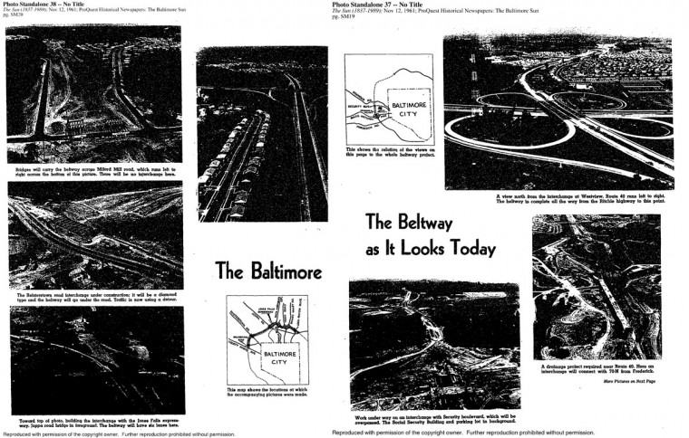 A photo spread about the progress of the Baltimore Beltway construction on November 12, 1961. (Baltimore Sun archives)