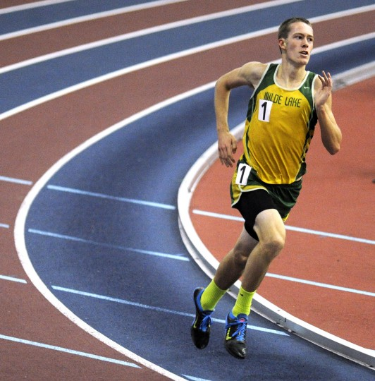 Wilde Lake's David Eisenhauer competes in the 3A boys 1600 meter run during the MPSSAA State Indoor Track and Field Championships in Landover.  (Dylan Slagle/BSMG)