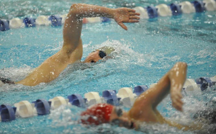 Broadneck's Will Roberts competes in the final heat of the Men's 500 Yard Freestyle during the MPSSAA 4A3A State Swim Championships held at the Prince George's Sports and Learning Center in Landover. (Matthew Cole/BSMG)