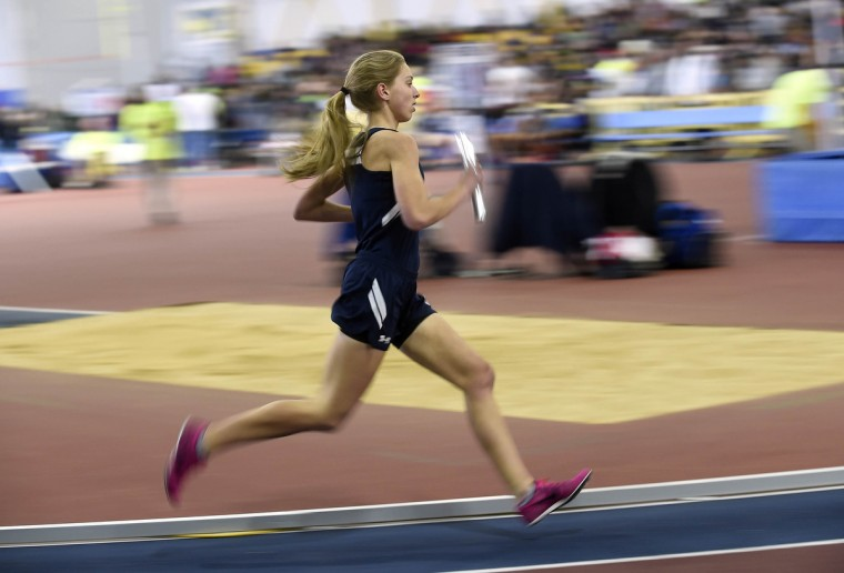 Manchester Valley's Katie Leisher competes in the 1A Girls 4 X 800 Meter Relay during the MPSSAA State Championship Indoor Track Meet in Landover. (Dylan Slagle/BSMG)