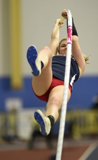 "Franklin's Olivia Gruver unsuccessfully attempts to vault 14 feet after setting a 3A state record with a 13' 4"" pole vault  during the MPSSAA State Indoor Track and Field Championships in Landover. (Dylan Slagle/BSMG)"