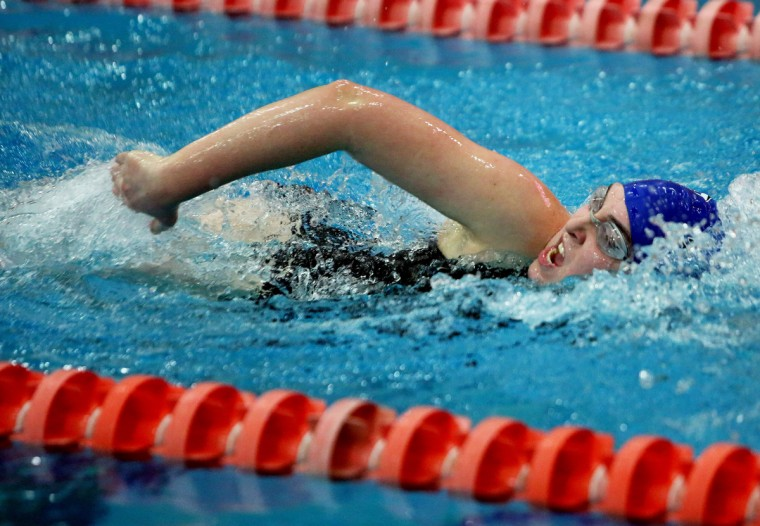 Alexis Pincus of Northwest High School competes in the Women's 200 yard freestyle competition during the state swimming championship at Prince George's Sports and Learning Complex in Hyattsville, Maryland. (Daniel Kucin/for BSMG)