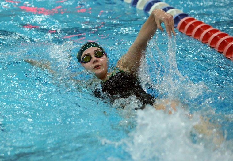 Alli Holm of Tuscarora High School competes in the Women's 200 yard IM during the state swimming championship at Prince George's Sports and Learning Complex in Hyattsville, Maryland. (Daniel Kucin Jr./for BSMG)