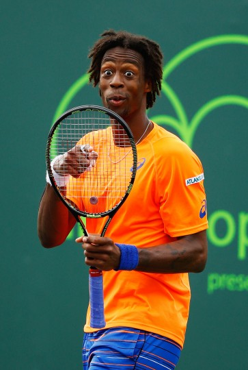 Gael Monfils of France gestures during his match against Filip Krajinovic of Serbia during day 6 of the Miami Open at Crandon Park Tennis Center in Key Biscayne, Florida. (Al Bello/Getty Images)