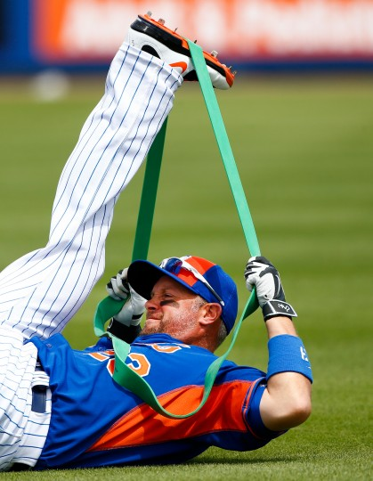 New York Mets right fielder Michael Cuddyer (23) warms up before the first inning of an exhibition spring training baseball game against the Washington Nationals in Port St. Lucie, Fla. (John Bazemore/Associated Press)