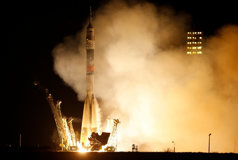 The Soyuz-FG rocket booster with Soyuz TMA-16M space ship carrying a new crew to the International Space Station, ISS, blasts off at the Russian leased Baikonur cosmodrome, Kazakhstan, Saturday, March 28, 2015. The Russian rocket carries U.S. astronaut Scott Kelly, Russian cosmonauts Gennady Padalka, and Mikhail Korniyenko. Dmitry Lovetsky/Associated Press)