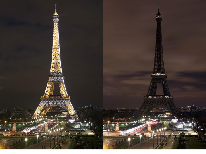 In this two photo combination picture, the Eiffel Tower with its usual lighting at left, and after the lighting was switched off at right, at the occasion of the Earth Hour, in Paris, France. This Saturday, 28 March 8:30 p.m. local time, individuals, businesses, cities and landmarks around the world are switching off their lights for one hour to focus attention on climate change. (Remy de la Mauviniere/Associated Press)