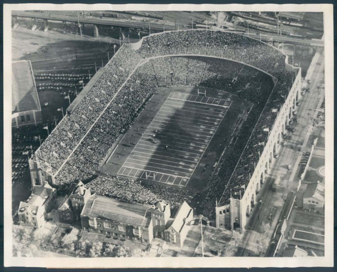 "Franklin Field, while still a large venue, once boasted a capacity roughly 30,000 higher than its current limit.   1930 caption from Sun archives:   ""A general view of the huge crowd of 80,000 which crowded every nook and coner (sic) of Franklin Field to witness the powerful Notre Dame football team vanquish the University of Pennsylvania Eleven by a score of 60 to 20. Watch your credit line: Photo from Wide World Photos: Copyright Aero Service Corp."""