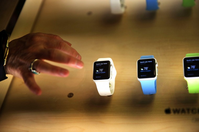 The new Apple Watch is viewed at an Apple store in Manhattan on April 10, 2015 in New York, New York. Consumers around the world were able to try on the long awaited smartwatch on Friday and to place orders. (Spencer Platt/Getty Images)