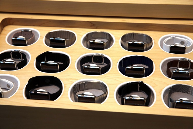 The new Apple Watch is viewed at an Apple store in Manhattan on April 10, 2015 in New York, New York. (Spencer Platt/Getty Images)