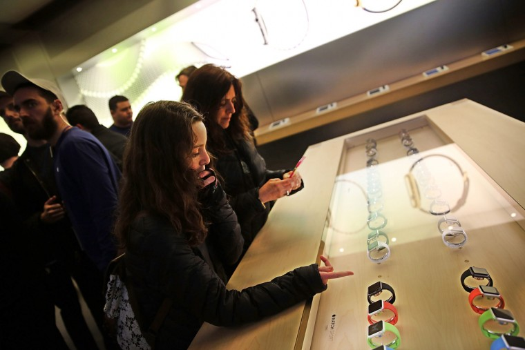 The new Apple Watch is viewed at an Apple store in Manhattan on April 10, 2015 in New York, New York. Consumers around the world were able to try on the long awaited smartwatch on Friday and to place orders. On April 24, consumers will be able to buy it online or by appointment in select stores. (Spencer Platt/Getty Images)