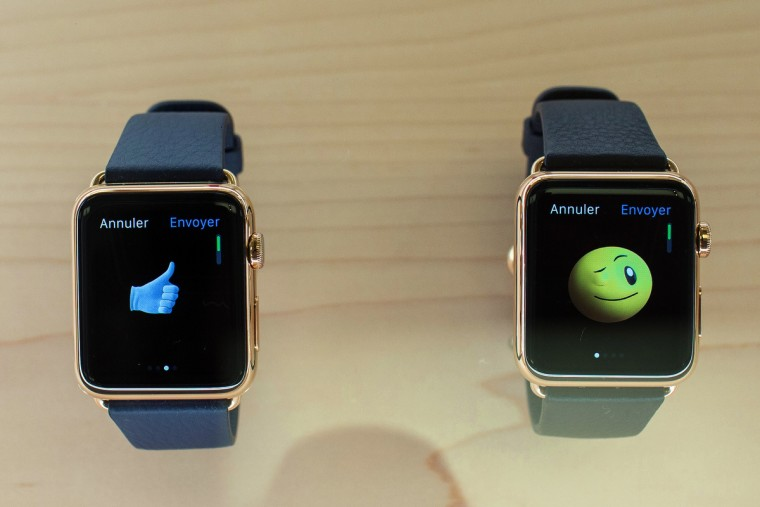 This photo taken on April 10, 2015 shows Apple watches displayed at an Apple store in Lyon, central-eastern France. Tech fans got their first look on April 10 at the Apple Watch, with would-be early buyers queuing for ordering them online. (Philipe Merle/AFP/Getty Images)hoto taken on April 10, 2015 shows Apple watches displayed at an Apple store in Lyon, central-eastern France. Tech fans got their first look on April 10 at the Apple Watch, with would-be early buyers queuing for ordering them online. (Philipe Merle/AFP/Getty Images)