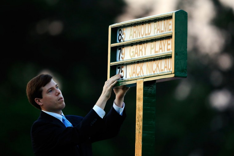 Names of the Honorary Starters are placed in a standard on the first tee during the first round of the 2015 Masters Tournament at Augusta National Golf Club on April 9, 2015 in Augusta, Georgia. (Photo by Jamie Squire/Getty Images)