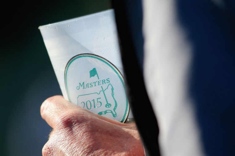 A cup with a Masters logo is seen during the first round of the 2015 Masters Tournament at Augusta National Golf Club on April 9, 2015 in Augusta, Georgia. (Photo by Jamie Squire/Getty Images)
