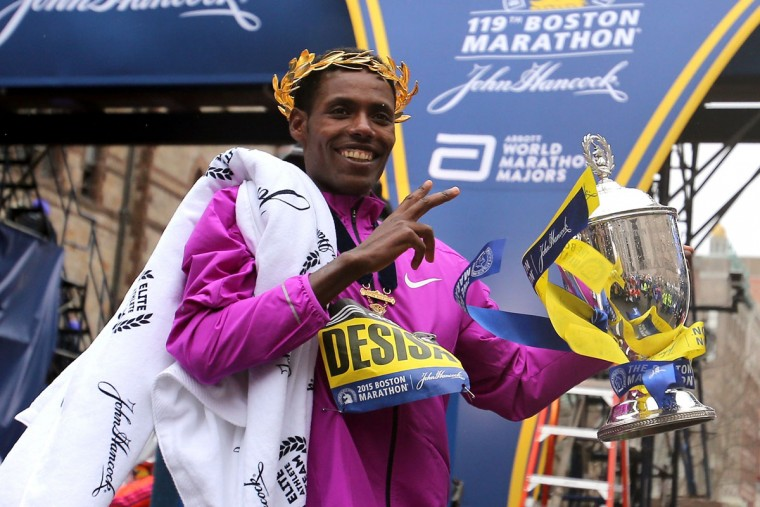 Lelisa Desisa of Ethiopa celebrates after winning the running of the 119th Boston Marathon on April 20, 2015 in Boston, Massachusetts. (Photo by Jim Rogash/Getty Images)
