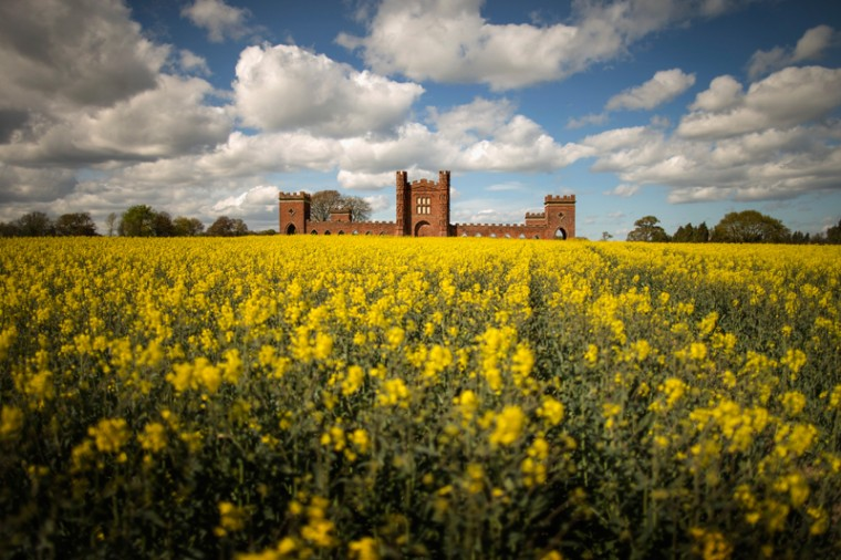Rapeseed begins to bloom and besets Vernons Folly on Tuesday in Sudbury, England. The deercote is known locally as Vernons Folly is believed to have been built in 1723 by Lord George Vernon, the owner of nearby Sudbury Hall. The lord built the fortress-like structure to keep his deer in. (Christopher Furlong/Getty Images)