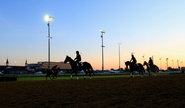 Horses go over the track during morning training for the Kentucky Derby at Churchill Downs on April 29, 2015 in Louisville, Kentucky. (Photo by Rob Carr/Getty Images)