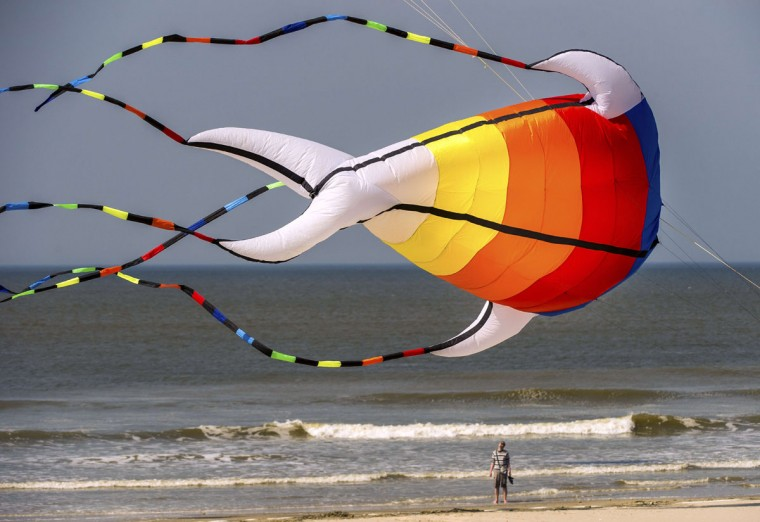 "A man looks up at a giant kite flying above the beach in Berck, northern France, on April 20, 2015, during the 29th ""Rencontres Internationales de Cerfs Volants"" (International Kite Meeting) which runs from April 18 to 26. (AFP Photo/Philippe Huguen)"