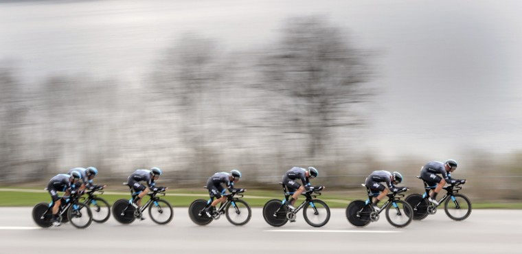 Britain's Team Sky cyclists compete to win the 19.2 km team time trial prologue between Vallee de Joux and Juraparc at the Tour de Romandie UCI World Tour stage road on Tuesday near L'Abbaye, western Switzerland. (FABRICE COFFRINI/AFP/Getty Images)