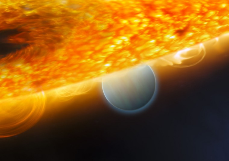 Astronomers discovered carbon dioxide in the atmosphere of a planet orbiting another star. The team used Hubble's Near Infrared Camera and Multi-Object Spectrometer to study infrared light emitted from the planet, which is 63 light-years away. (2008 photo by NASA/ESA NASA/AFP/Getty Images)