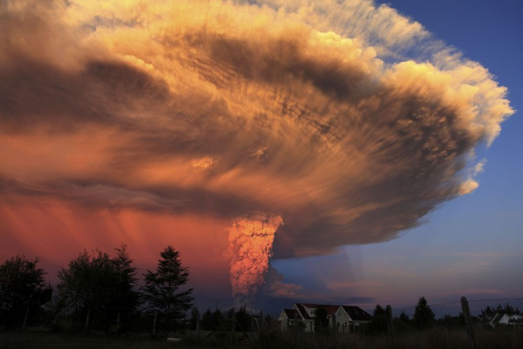 The Calbuco volcano erupts near Puerto Varas, Chile, Wednesday, April 22, 2015. The Calbuco volcano erupted Wednesday for the first time in more than 42 years, billowing a huge ash cloud over a sparsely populated, mountainous area in southern Chile. Authorities ordered the evacuation of the 1,500 inhabitants of the nearby town of Ensenada, along with residents of two smaller communities.(AP Photo/Diego Main/Aton Chile)