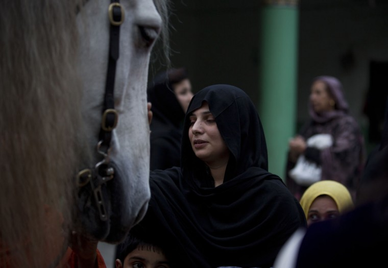 A Pakistani woman pays respect to a horse symbolizing the one used by spiritual leader, Imam Hussein, grandson of the Prophet Muhammad to fight against his enemies in Karbala, at the shrine of Shah Chun Chirag in Rawalpindi, Pakistan, Thursday, April 2, 2015. People usually visit shrines on Thursday and Friday to get their wishes fulfilled. (AP Photo/B.K. Bangash)