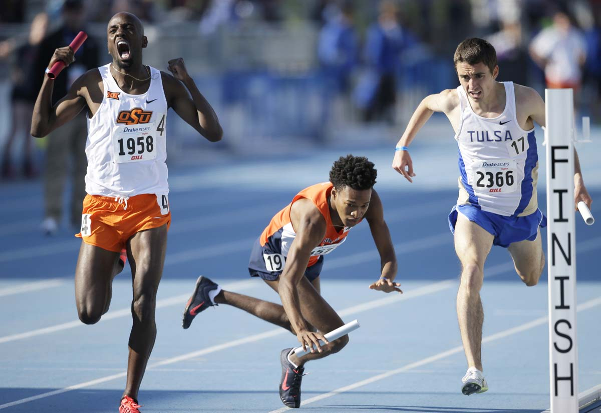 A fall at the Drake Relays, prosperity and fire in Manila, controversial tigers | April 24