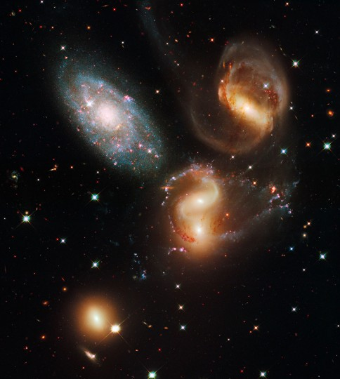 This Hubble image shows a group of five galaxies known as Stephan's Quintet. (NASA/ESA/Hubble SM4 ERO Team via AP)