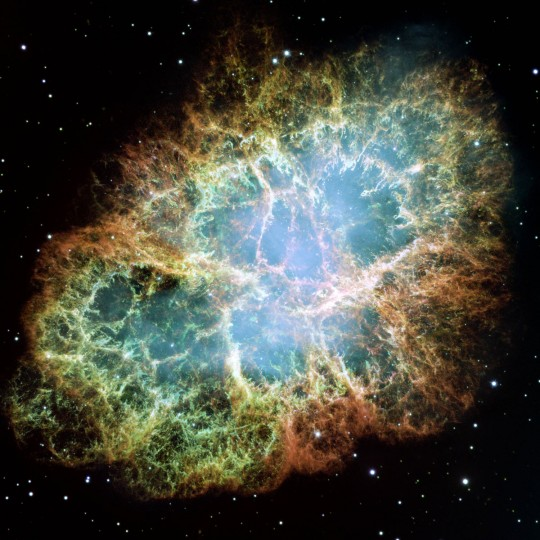 This image by the Hubble Space Telescope shows the Crab Nebula. (NASA, ESA, Allison Loll/Jeff Hester - Arizona State University via AP)