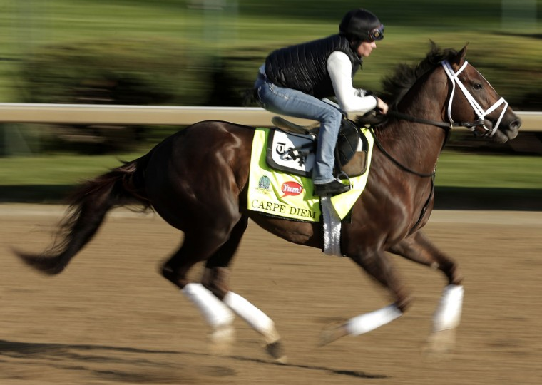 Kentucky Derby hopeful Carpe Diem is ridden by exercise rider Patti Krotenko during a morning workout at Churchill Downs Tuesday, April 28, 2015, in Louisville, Ky. (AP Photo/Charlie Riedel)