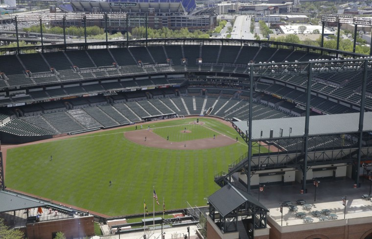 The Chicago White Sox and Baltimore Orioles play a baseball game, Wednesday, April 29, 2015, in Baltimore. The game was played in an empty Oriole Park at Camden Yards amid unrest in Baltimore over the death of Freddie Gray at the hands of police. (AP Photo/Patrick Semansky)