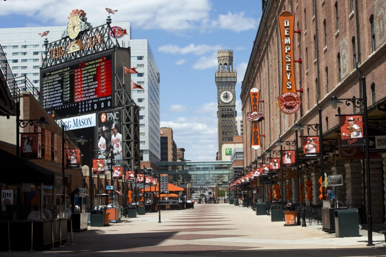 Shown is a section of Oriole Park at Camden Yards stadium just before a Baltimore Orioles baseball game against the Chicago White Sox's, Wednesday, April 29, 2015, in Baltimore. The game was played in an empty stadium amid unrest in Baltimore over the death of Freddie Gray at the hands of police. (AP Photo/Matt Rourke)